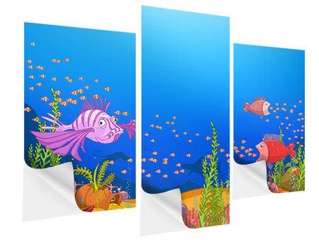 Klebeposter 3-teilig modern Der Schatz unter Wasser
