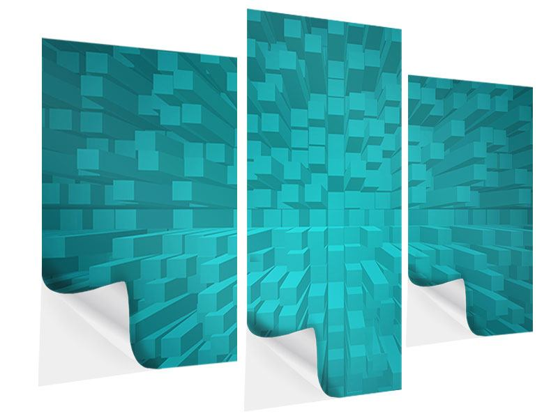 Klebeposter 3-teilig modern 3D-Kubusse