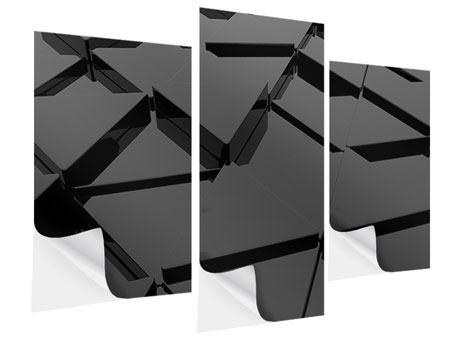 Klebeposter 3-teilig modern 3D-Dreiecksflächen