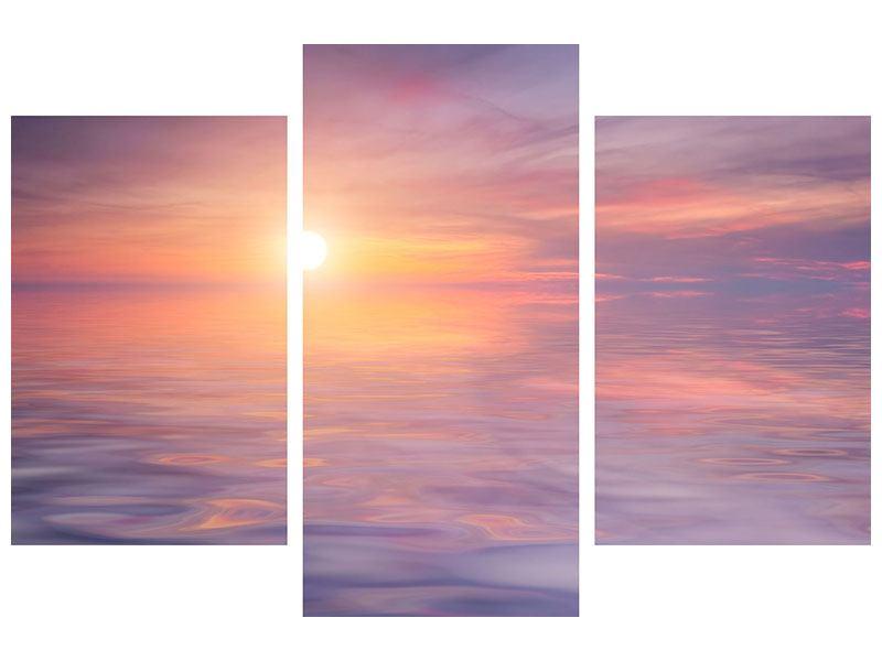 Klebeposter 3-teilig modern Sonnenuntergang auf See