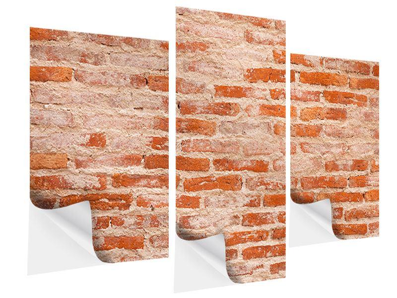 Klebeposter 3-teilig modern Mauerwerk