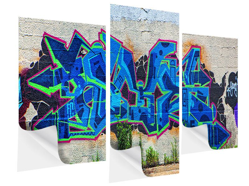 Modern 3 Piece Self-Adhesive Poster Graffiti NYC