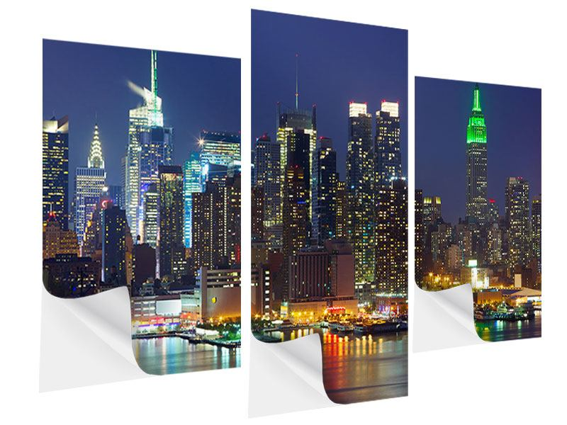 Klebeposter 3-teilig modern Skyline New York Midtown bei Nacht