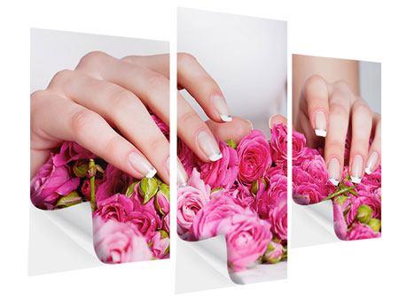 Klebeposter 3-teilig modern Hände auf Rosen gebettet