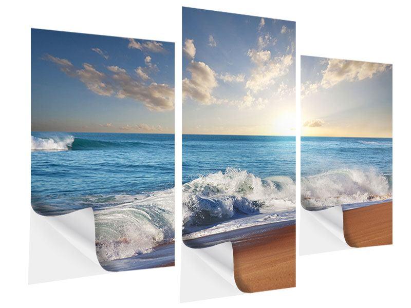 Klebeposter 3-teilig modern Die Wellen des Meeres