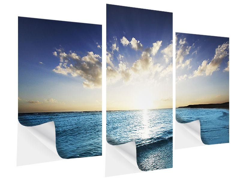 Klebeposter 3-teilig modern Das Meer im Sonnenaufgang