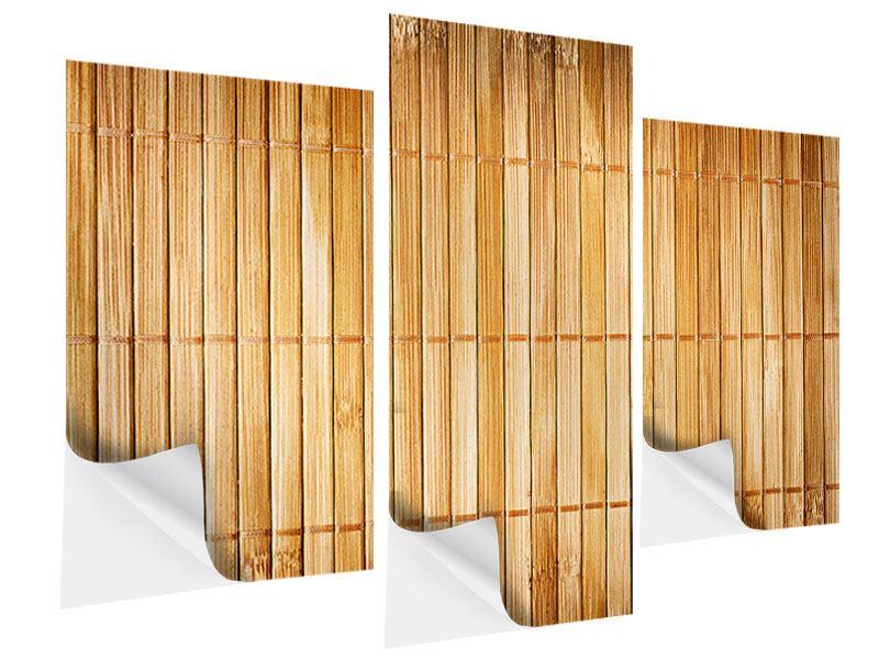 Klebeposter 3-teilig modern Bambusrohre