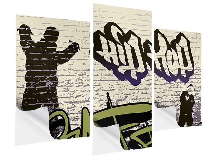 Klebeposter 3-teilig modern Graffiti Hip Hop