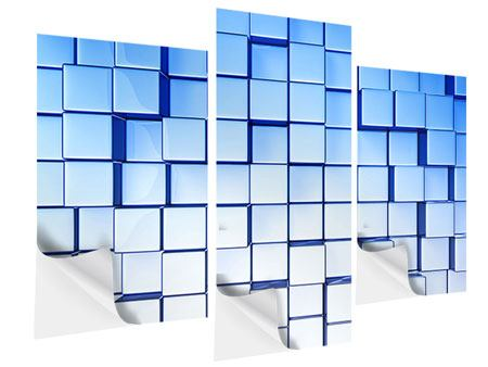 Klebeposter 3-teilig modern 3D-Symetrie