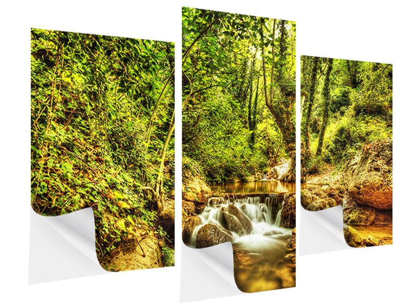 Klebeposter 3-teilig modern Wasserfall im Wald