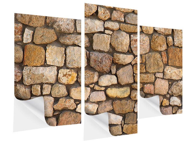 Klebeposter 3-teilig modern Alte Ziegel