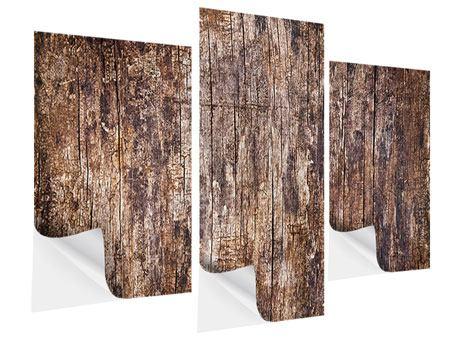 Klebeposter 3-teilig modern Retro-Holz