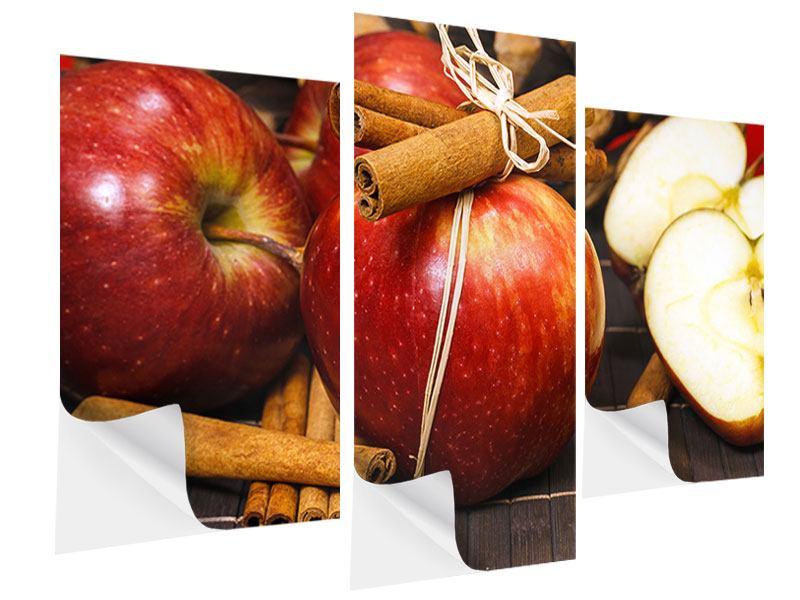 Klebeposter 3-teilig modern Äpfel