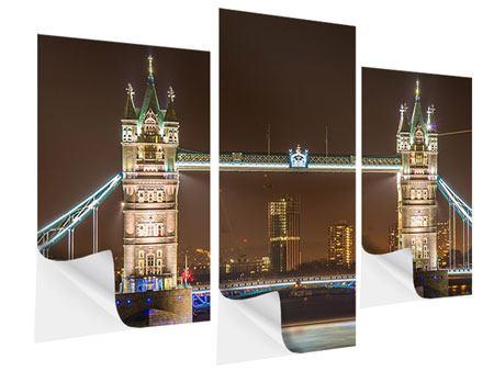 Klebeposter 3-teilig modern Tower Bridge bei Nacht
