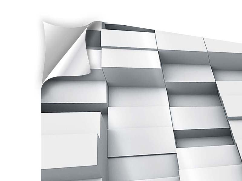 Klebeposter 3-teilig modern 3D-Kubus