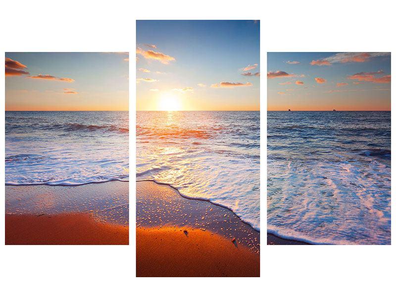 Klebeposter 3-teilig modern Sonnenuntergang am Horizont