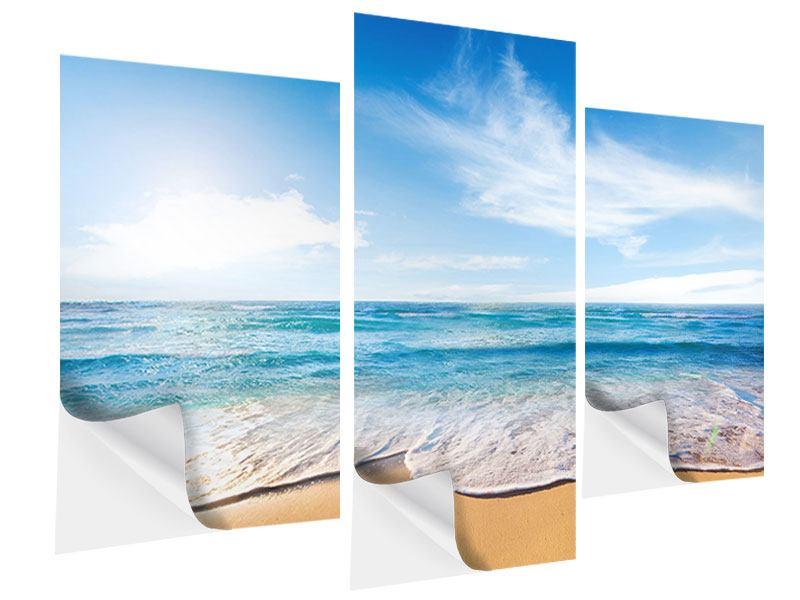Klebeposter 3-teilig modern Spuren im Sand