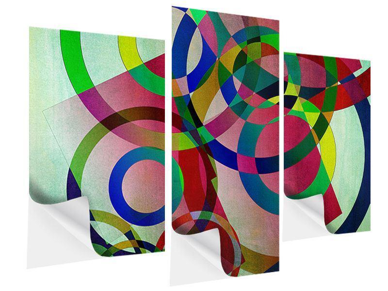 Klebeposter 3-teilig modern Wandkunst