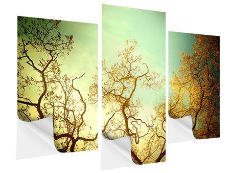 Klebeposter 3-teilig modern Bäume im Herbst
