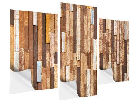 Klebeposter 3-teilig modern Designholz