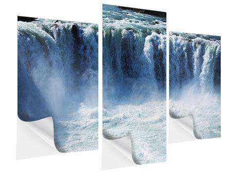 Klebeposter 3-teilig modern Mächtiger Wasserfall