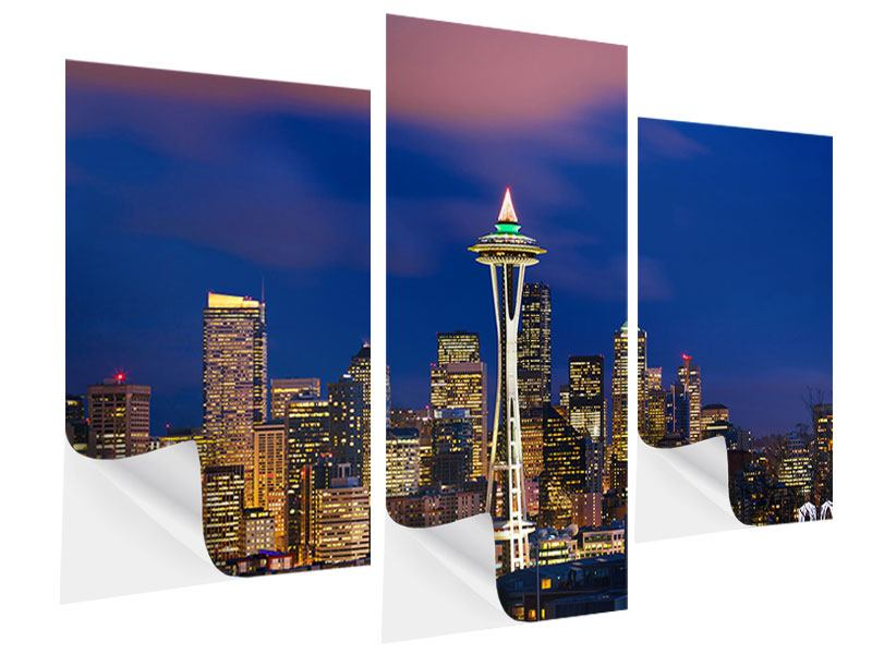 Klebeposter 3-teilig modern Skyline Seattle