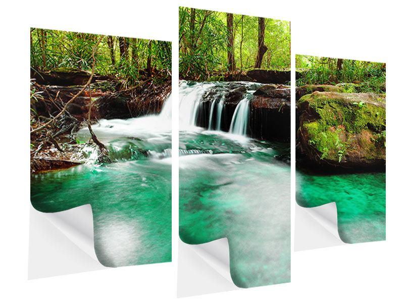 Klebeposter 3-teilig modern Der Fluss am Wasserfall