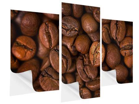 Klebeposter 3-teilig modern Close Up Kaffeebohnen