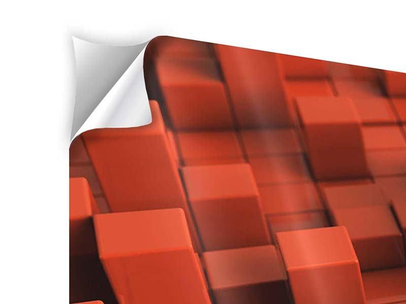 Klebeposter 3-teilig modern 3D-Rechtkant