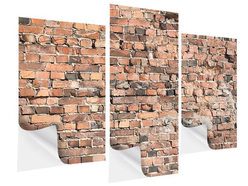 Klebeposter 3-teilig modern Alte Backsteinmauer