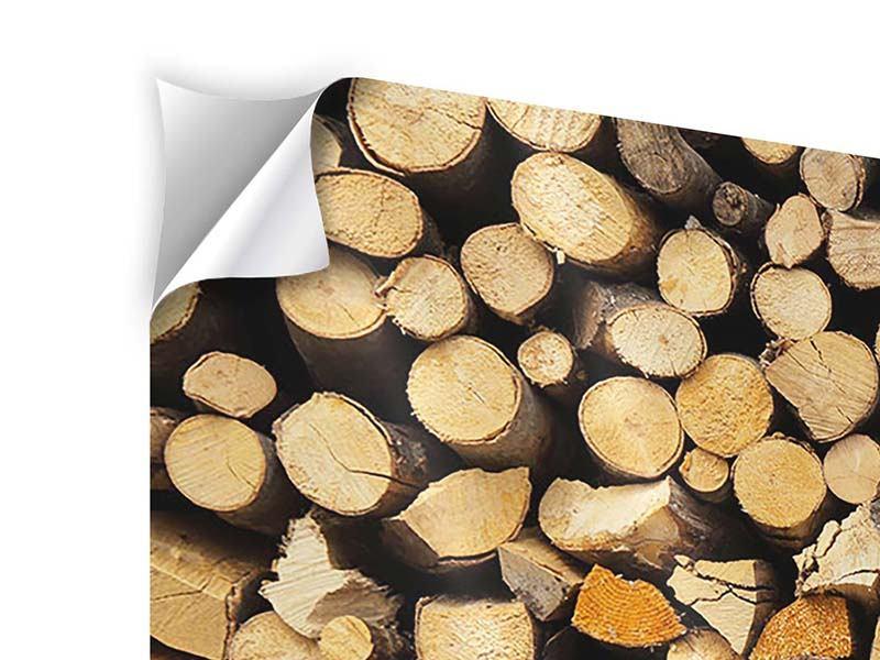 Klebeposter 3-teilig modern Brennholz