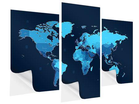 Klebeposter 3-teilig modern Weltkarte