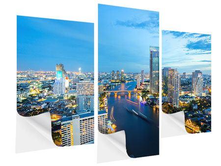 Klebeposter 3-teilig modern Skyline Bangkok in der Abenddämmerung