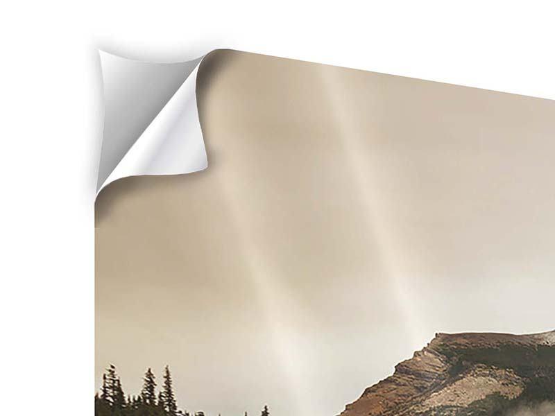 Klebeposter 3-teilig modern Spiegelung im Glacier Nationalpark