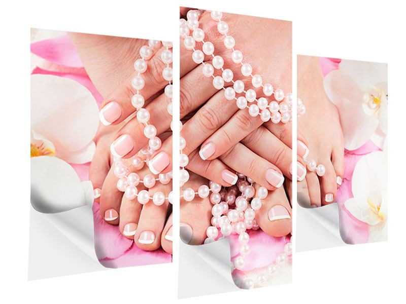 Klebeposter 3-teilig modern Hände und Füsse