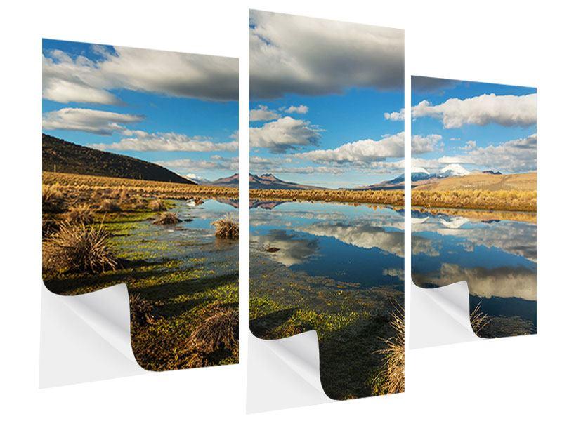 Klebeposter 3-teilig modern Wasserspiegelung am See