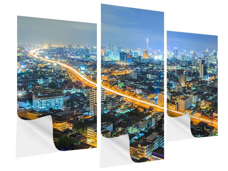 Klebeposter 3-teilig modern Skyline Bangkok im Fieber der Nacht