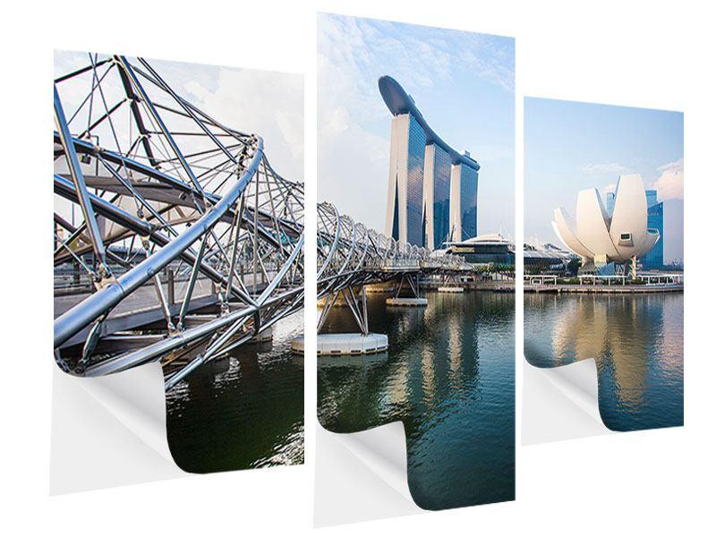 Klebeposter 3-teilig modern Singapur