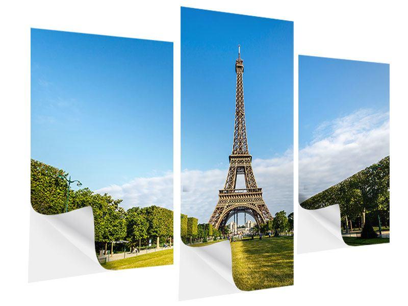 Klebeposter 3-teilig modern Der Eiffelturm in Paris