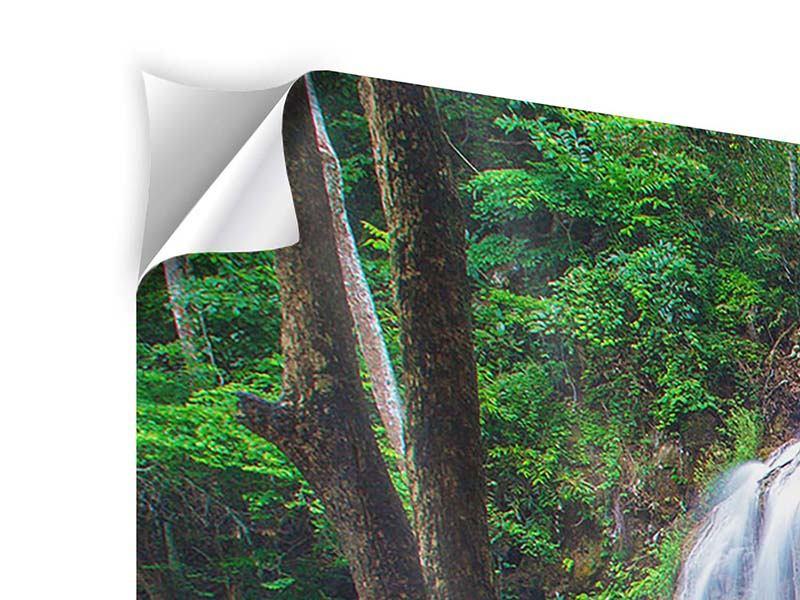Klebeposter 3-teilig modern Naturerlebnis Wasserfall