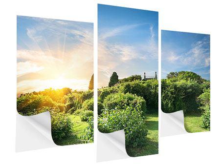 Klebeposter 3-teilig modern Sonnenaufgang im Park