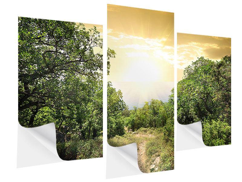 Klebeposter 3-teilig modern Am Ende des Waldes