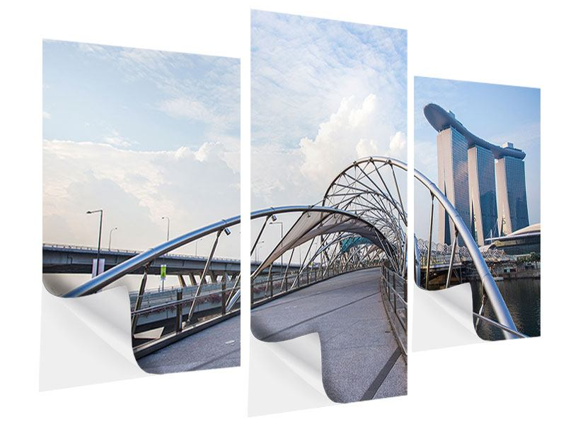 Klebeposter 3-teilig modern Helix-Brücke