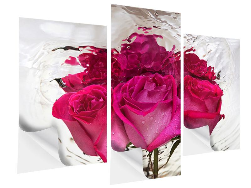 Klebeposter 3-teilig modern Die Rosenspiegelung