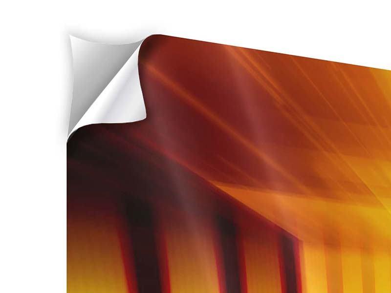 Klebeposter 3-teilig modern Abstrakter Goldener Raum