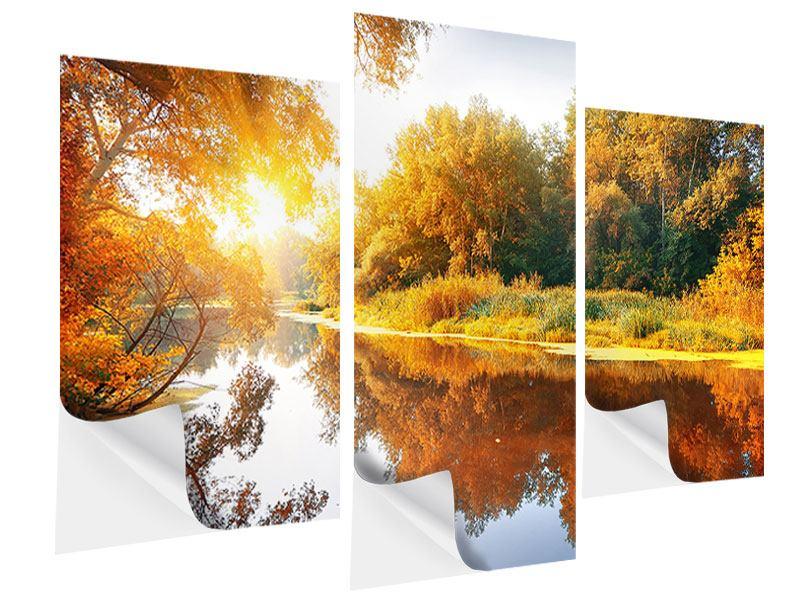 Klebeposter 3-teilig modern Waldspiegelung im Wasser