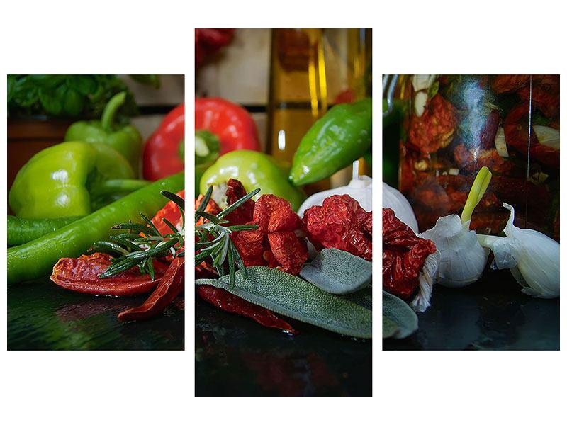 Klebeposter 3-teilig modern Mediterranes Gemüse
