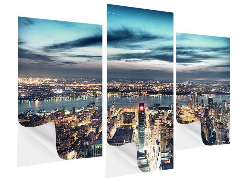 Klebeposter 3-teilig modern Skyline Manhattan Citylights