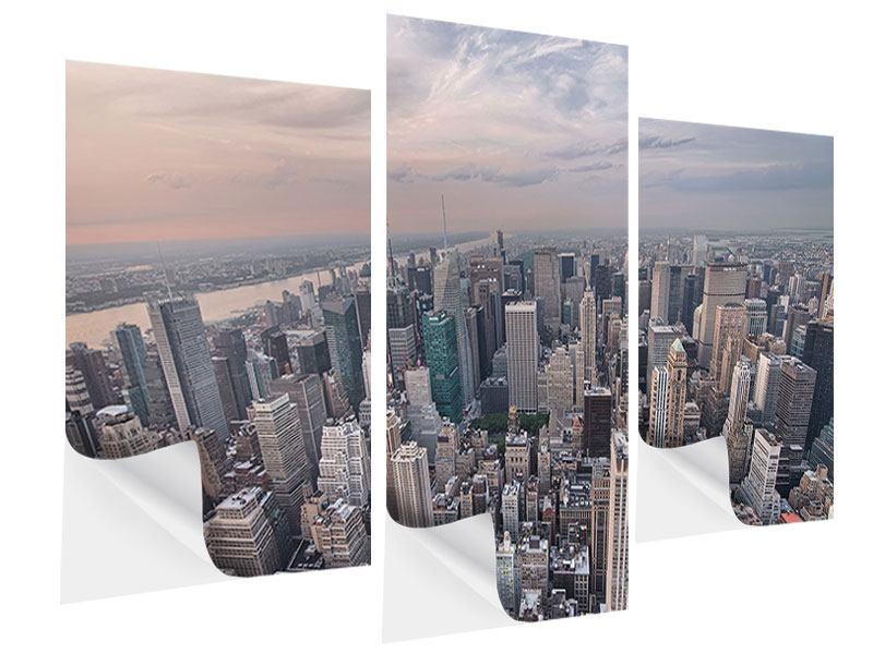 Klebeposter 3-teilig modern Skyline Blick über Manhattan