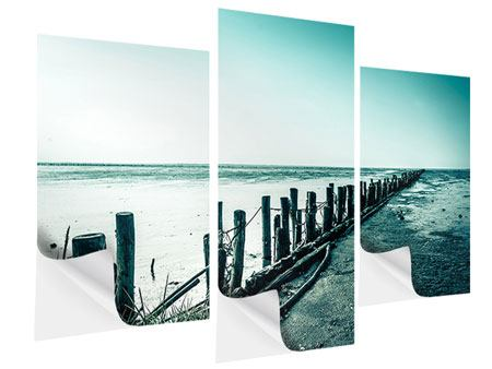 Klebeposter 3-teilig modern Das Wattenmeer